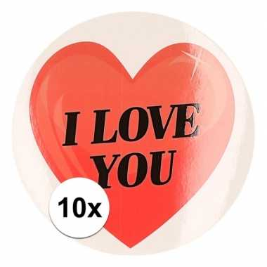 10 x kadostickers i love you hart 9 cm