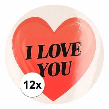 12 x kadostickers i love you hart 9 cm