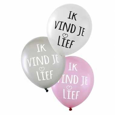 12x stuks valentijn/bruiloft ballonnen ik vind je lief kado