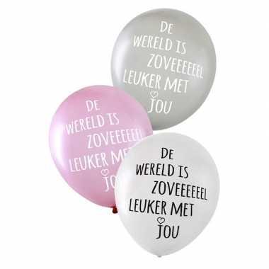 12x valentijn/bruiloft ballonnen de wereld is zoveel leuker met jou k