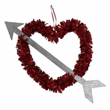 1x rood valentijn/bruiloft hangdecoratie hart met pijl 45 cm kado
