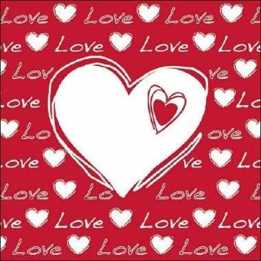 20x hartjes servetten met tekst love wit/rood 33 x 33 cm kado
