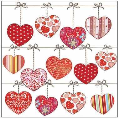 20x tafel diner/lunch servetten 33 x 33 cm valentijn liefdes hartjes print kado