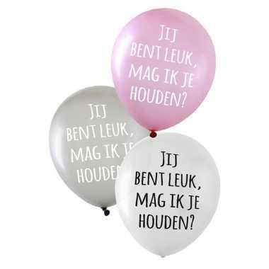 24x stuks valentijn ballonnen jij bent leuk, mag ik je houden? kado