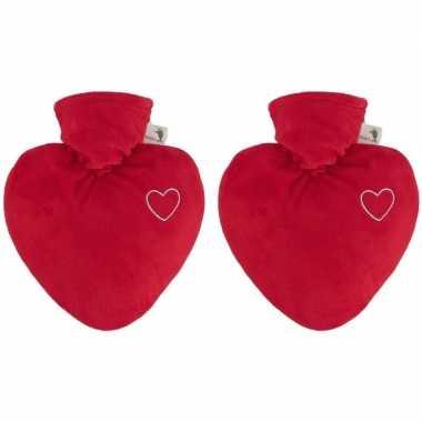 2x kruiken velours rood hart 1 liter kado