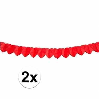 2x mini slingers rood hart 200 cm kado