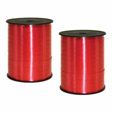 2x rollen kadolint/sierlint in de kleur rood 5 mm x 500 meter
