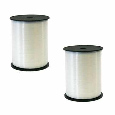 2x rollen kadolint/sierlint in de kleur wit 5 mm x 500 meter