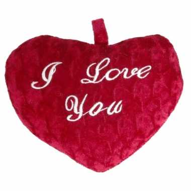 2x stuks pluche rood hart kussens i love you 24 x 19 x 7 cm kado