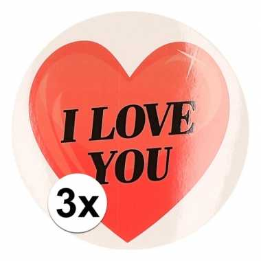 3 x kadostickers i love you hart 9 cm