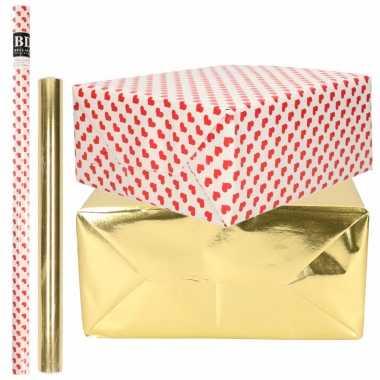 4x rollen kraft inpakpapier liefde/rode hartjes pakket metallic goud 200 x 70/50 cm kado
