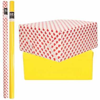 6x rollen kraft inpakpapier liefde/rode hartjes pakket geel 200 x 70 cm kado