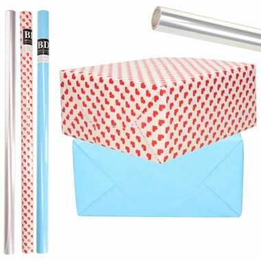 6x rollen kraft inpakpapier transparante folie/hartjes pakket blauw/harten design 200 x 70 cm kado