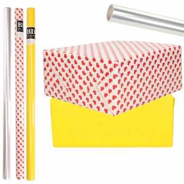 6x rollen kraft inpakpapier transparante folie/hartjes pakket geel/harten design 200 x 70 cm kado