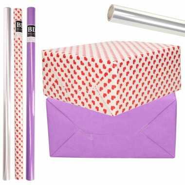 6x rollen kraft inpakpapier transparante folie/hartjes pakket paars/harten design 200 x 70 cm kado