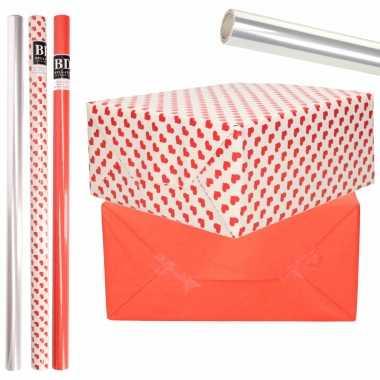 6x rollen kraft inpakpapier transparante folie/hartjes pakket rood/harten design 200 x 70 cm kado