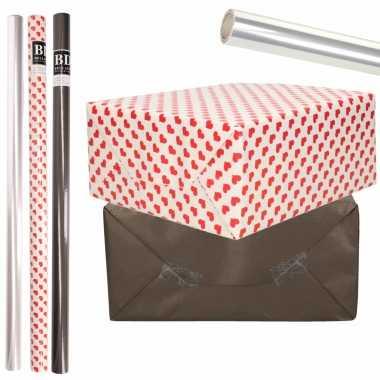 6x rollen kraft inpakpapier transparante folie/hartjes pakket zwart/harten design 200 x 70 cm kado