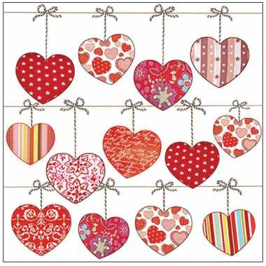 80x tafel diner/lunch servetten 33 x 33 cm valentijn liefdes hartjes print kado