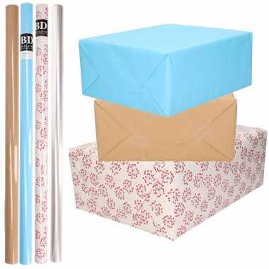 8x rollen transparant folie/inpakpapier pakket blauw/bruin/wit met hartjes 200 x 70 cm kado