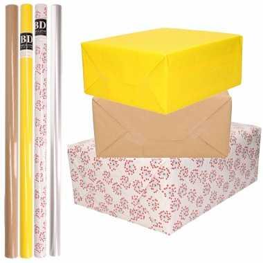 8x rollen transparant folie/inpakpapier pakket geel/bruin/wit met hartjes 200 x 70 cm kado