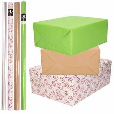 8x rollen transparant folie/inpakpapier pakket groen/bruin/wit met hartjes 200 x 70 cm kado