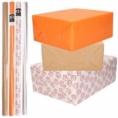 8x rollen transparant folie/inpakpapier pakket oranje/bruin/wit met hartjes 200 x 70 cm kado