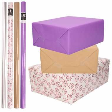 8x rollen transparant folie/inpakpapier pakket paars/bruin/wit met hartjes 200 x 70 cm kado