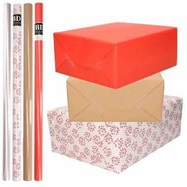 8x rollen transparant folie/inpakpapier pakket rood/bruin/wit met hartjes 200 x 70 cm kado