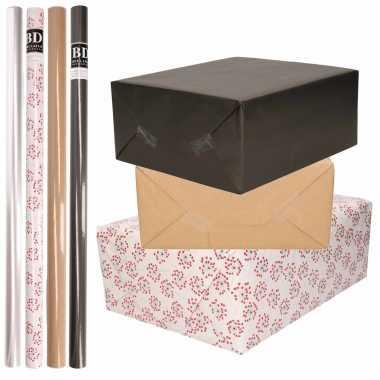 8x rollen transparant folie/inpakpapier pakket zwart/bruin/wit met hartjes 200 x 70 cm kado