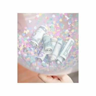 Confetti vulset met 10 hartjes ballonnen kado