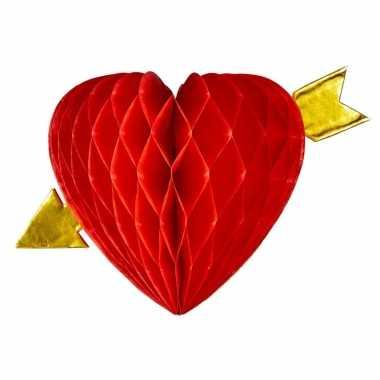 Decoratie rood hart met pijl 13 cm kado