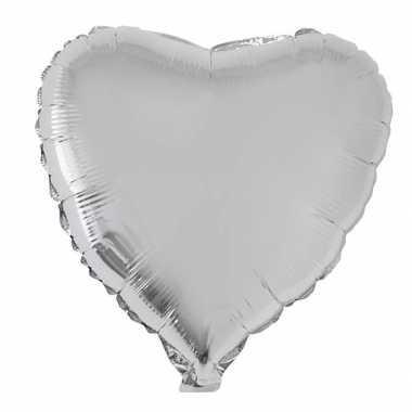 Folie ballon hart zilver 52 cm kado