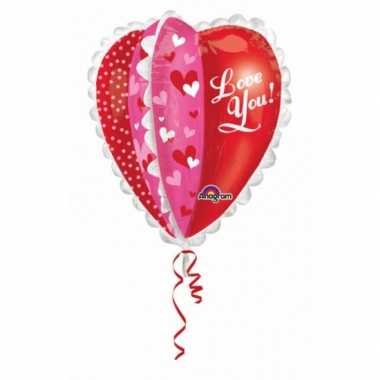 Folie ballon hartjes love you 76 cm kado