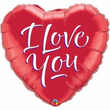 Folie ballon i love you hart rood 46 cm met helium gevuld kado