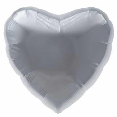 Folie ballon zilveren hart kado