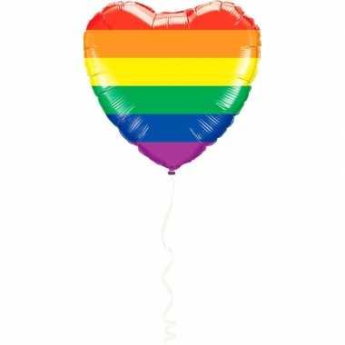 Hart folie ballon regenboog kleuren 45 cm kado