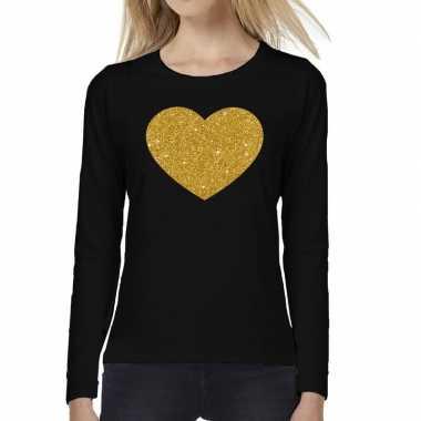 Hart van goud glitter t shirt long sleeve zwart voor dames kado