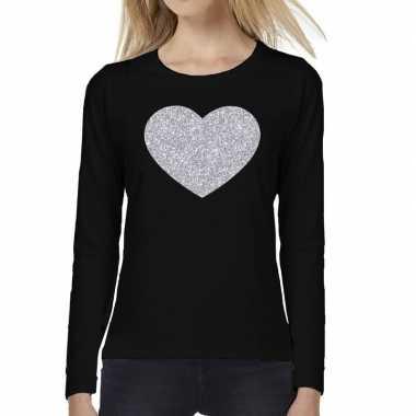 Hart van zilver glitter t shirt long sleeve zwart voor dames kado
