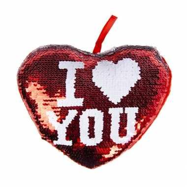 Hartjes kussen i love you rood metallic met pailletten 20 cm kado