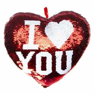 Hartjes kussen i love you rood metallic met pailletten 35 cm kado