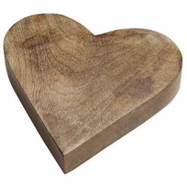 Houten serveerplank/dienblad hartvorm 20 cm kado