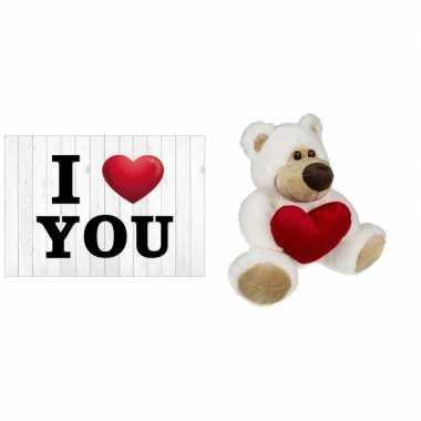 I love you ansichtkaart/wenskaart met knuffelbeer kado