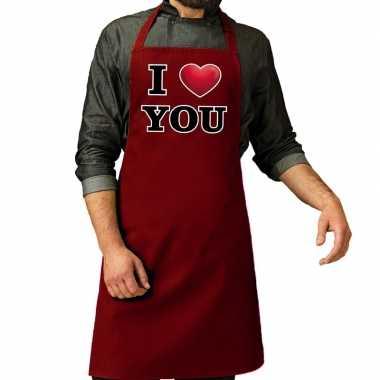 I love you barbecueschort rood voor heren kado