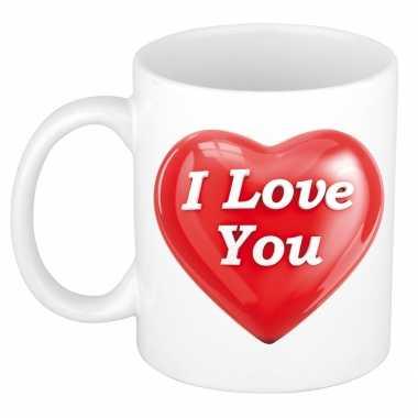 I love you kado mok / beker wit met hartje valentijnsdag