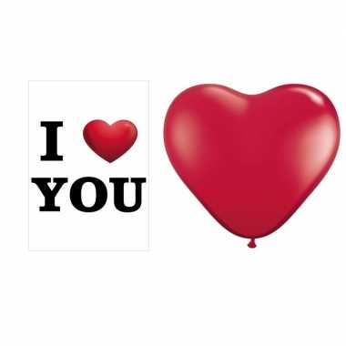 I love you mega deurposter met 25 stuks hartjes ballonnen rood kado
