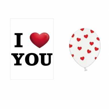 I love you mega deurposter met 6x witte ballonnen rode hartjes kado
