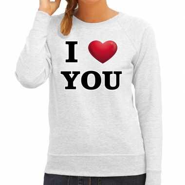I love you valentijn sweater grijs voor dames kado