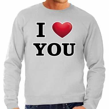 I love you valentijn sweater grijs voor heren kado