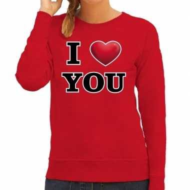 I love you valentijn sweater rood voor dames kado