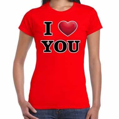 I love you valentijn t shirt rood voor dames kado